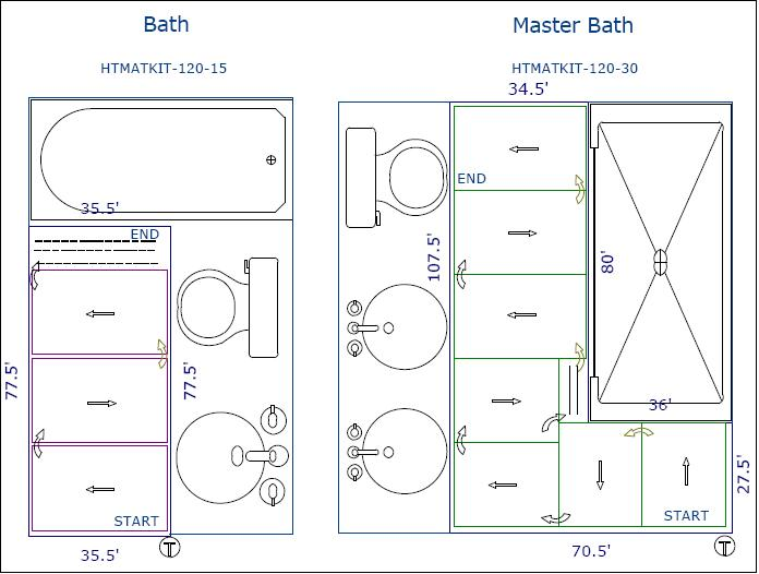 HTMATKIT-120-15 was offered for bath and HTMATKIT-120-30 for master bathroom .